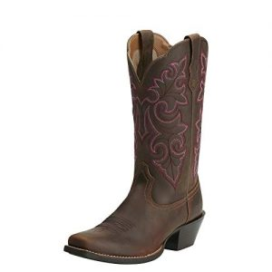 Ariat Women's Round Up Square Toe Western Cowboy Boot, Powder Brown/Brown, 8 W US