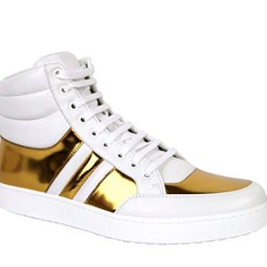 Gucci High top Contrast Padded White/Gold Leather Sneaker