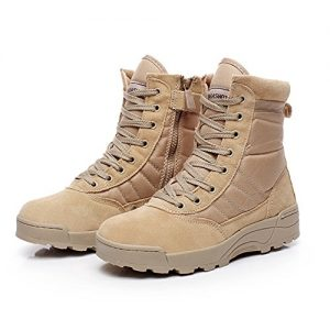 YING LAN Men's Tactical Military Combat Boots Side Zipper