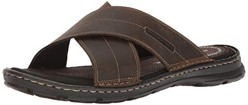 Rockport Men's Darwyn Xband Slide Sandal, Brown Leather