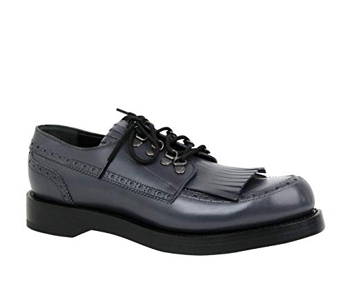Gucci Fringed Brogue Bluish Gray Leather Lace-up Shoes