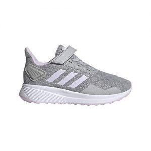 adidas Unisex-Kid's Duramo 9 Running Shoe, Grey/Aero Pink/White