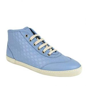 Gucci Women's Mineral Blue Leather Hi-Top Sneaker