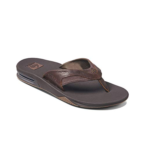 Reef Men's Sandals Leather Fanning | Bottle Opener Flip Flops for Men Reef Men's Sandals Leather Fanning | Bottle Opener Flip Flops for Men, Dark Brown, 11.