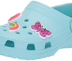 Crocs Kid's Classic Charm Clog, Ice Blue