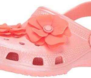 Crocs Unisex-Kid's Classic Vivid Blooms Clog, Melon
