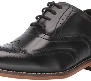 STACY ADAMS Boys' Dunbar Wingtip Oxford, Black