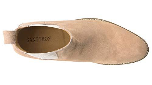 SANTIMON Chelsea Boots Men Suede Casual Dress Boots Ankle Boots SANTIMON Chelsea Boots Men Suede Casual Dress Boots Ankle Boots Formal Shoes Brown 9 D(M) US.