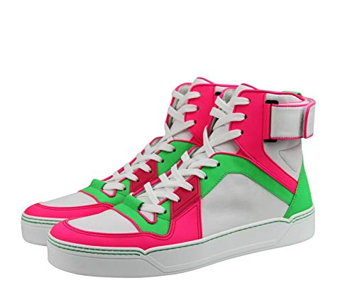 Gucci High top Green/Pink/White Neon Leather Sneaker Strap Gucci High top Green/Pink/White Neon Leather Sneaker Strap 386738 5663 (9 G / 10 US).