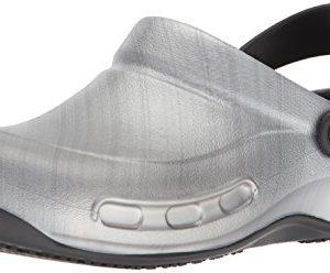 Crocs Unisex Bistro Graphic Clog Shoe, metallic/silver