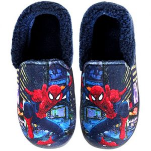 Joah Store Slippers for Boys Navy Red Warm Fur Clog Mule Spider-Man