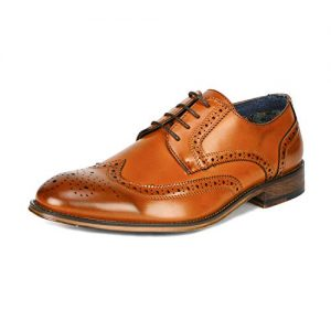 Bruno Marc Men's Brown Classic Brogue Wing Tip Lace Up