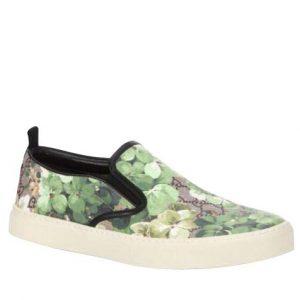 Gucci Bloom Flower Print Supreme GG Green Canvas Slip Sneakers