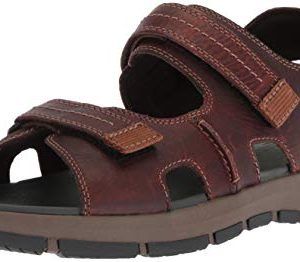 CLARKS Men's Brixby Shore Sandal, Dark Brown Leather