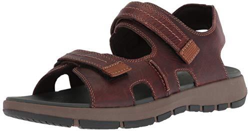 CLARKS Men's Brixby Shore Sandal, Dark Brown Leather