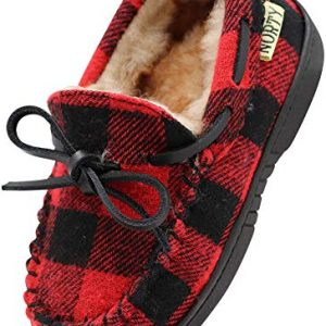 NORTY - Big Boy's Buffalo Plaid Moccasin Slipper, Red