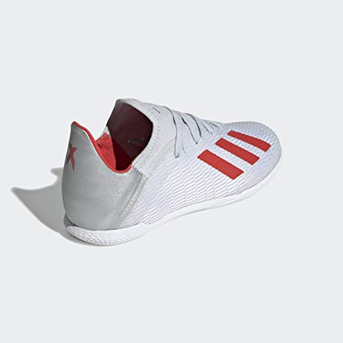 adidas Unisex X 19.3 Indoor Soccer Shoe, Silver Metallic/hi-res red/White adidas Unisex X 19.3 Indoor Soccer Shoe, Silver Metallic/hi-res red/White, 4.5 M US Big Kid.