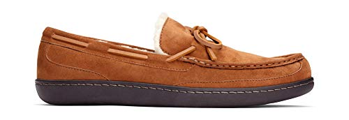 Vionic Men's Irving Adler Slipper with Durable Rubber Sole Vionic Men's Irving Adler Slipper with Durable Rubber Sole - Faux Shearling Moccasins with Concealed Orthotic Arch Support Chestnut 10 M US.