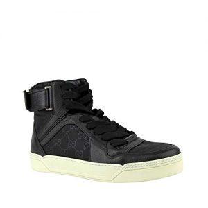 Gucci Men's Nylon Guccissima High-Top Black Sneakers