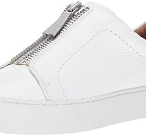 FRYE Women's Lena Zip Low Fashion Sneaker, White Tumbled Cow