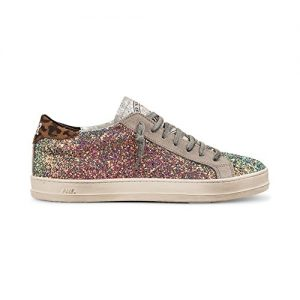 Women's John Italian Leather Multicolor Glitter Sneaker