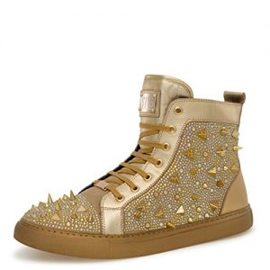 J75 by Jump Men's Zambia Gold Round Toe Metal Spike Jewel Lace-Up