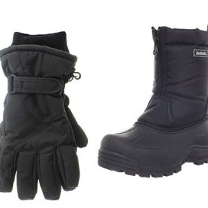 Northside Icicle Snow Boot, Black,Big Kid with Matching Gloves
