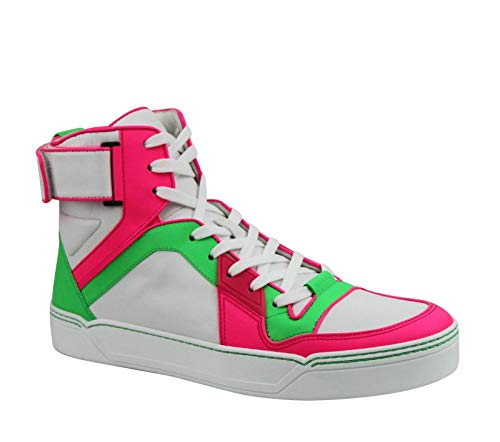 Gucci High top Green/Pink/White Neon Leather Sneaker Strap