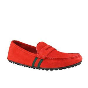 Gucci Driver Loafer Red Suede Shoes GRG Web Detail