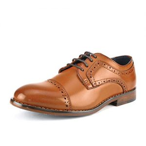 Bruno Marc Big Kid Prince_K_1 Brown Boy's Classic Oxfords Dress Shoes
