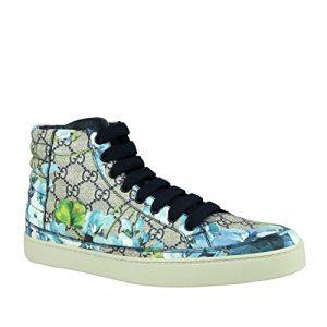 Gucci Men's Bloom Print Supreme GG Blue Canvas Hi Top Sneaker Shoes