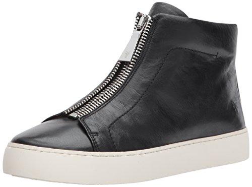 FRYE Women's Lena Zip HIGH Fashion Sneaker, Black Polished Soft Full Grain