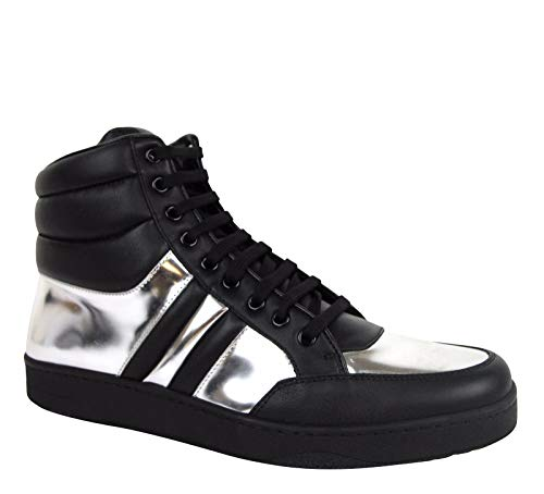 Gucci High top Contrast Padded Black/Silver Leather Sneaker