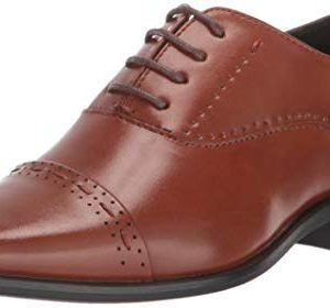 STACY ADAMS Boys' Barris Cap-Toe Oxford, Cognac