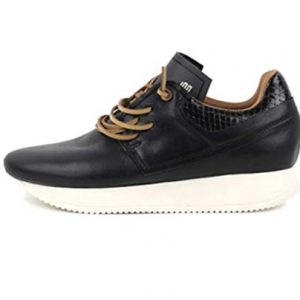 Esseutesse Women's Black Leather Casual Fashion Sneakers