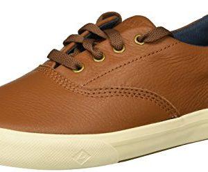 SPERRY Boys' Striper II Leather Boat Shoe, tan