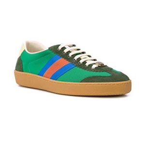 Gucci Men's G74 Suede and Nylon Web Sneaker, Green
