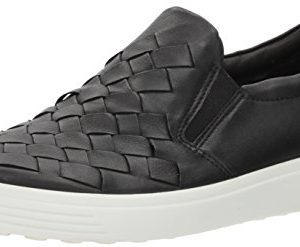 ECCO Women's Soft 7 Slip Fashion Sneaker, Black Woven