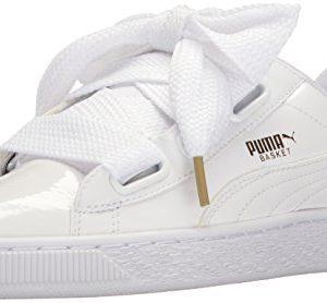 PUMA Women's Basket Heart Patent WN's Sneaker, White