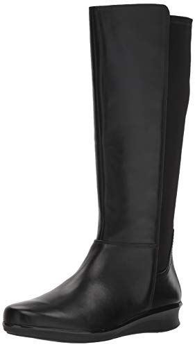 CLARKS Women's Hope Play Fashion Boot, Black Leather/Textile