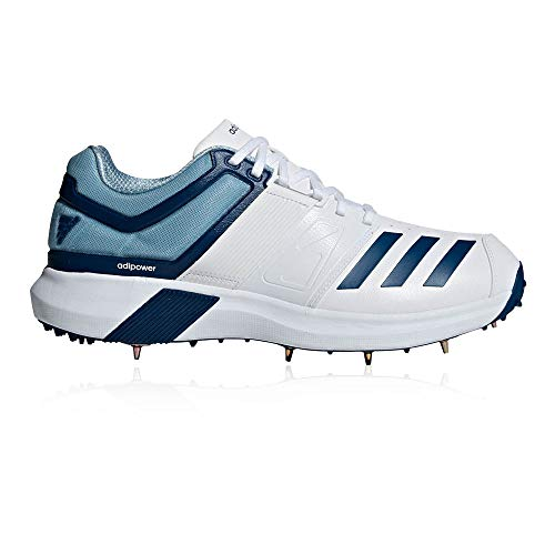 adidas Adipower Vector Mens Adult Cricket Trainer Spike Shoe White/Blue