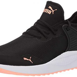 PUMA Women's Pacer Next Cage Sneaker, Black Bright Peach