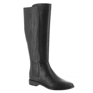 Calvin Klein Womens Finley Leather Knee-High Riding Boots Black