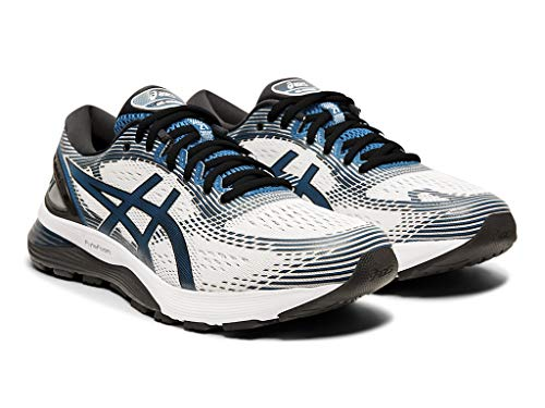 ASICS Men's Gel-Nimbus 21 Running Shoes ASICS Men's Gel-Nimbus 21 Running Shoes, 11M, White/DEEP Sapphire.