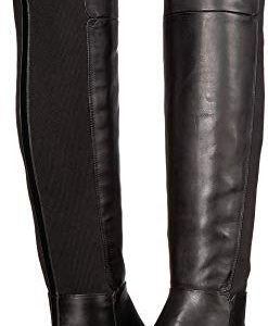 Sam Edelman Pam Black Leather Modena Calf Leather/Ribbed Stretch Knit
