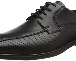 ECCO Men's Melbourne Bike Tie Oxford, Black Summer Perforated