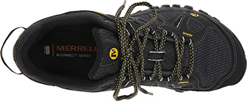 Merrell Men's All Out Blaze Aero Sport Hiking Water Shoe, Black Lace-up hiking shoe with branding details featuring breathable mesh and durable synthetic upper Omni-Fit lacing system Mesh lining with odor-preventing M Select FRESH technologies Cushioned and protective UniFly midsole TC5+ Vibram outsole with 5 mm lug depth Fly lightly over the trail and be the first to crest the ridge in speedy performance and design of the Merrell® All Out Blaze Aero Sport hiker. Lightweight, breathable mesh upper with supportive synthetic overlays. Bellows tongue helps keep debris out. Merrell Omni-Fit™ lacing system promotes a precise, glove-like fit. Molded TPU heel counter provides added stability. Heel pull loop for an easier on and off. Lightly padded collar. Breathable mesh lining is treated with odor-fighting M Select™ FRESH technology to keep feet feeling fresher longer. Foam footbed offers light underfoot comfort. UniFly™ midsole delivers lightweight underfoot protection. 5 mm lug depth. Vibram® outsole. Imported. Measurements:Weight: 13 oz</p> <p>Product measurements were taken using size 11, width M. Please note that measurements may vary by size. Weight of footwear is based on a single item, not a pair.</p>