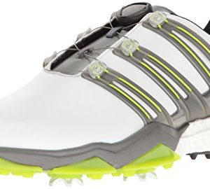 Adidas Powerband BOA Boost Golf Shoe, White/Iron Metallic/Solar Slime