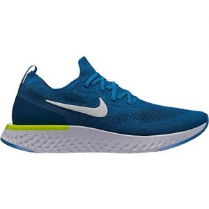 Nike Men's Epic React Flyknit Running Shoe Green Abyss/White/Blue Force/Volt