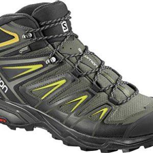 Salomon Men's X Ultra 3 Mid GTX Hiking Boots, Castor Gray/Black/Green Sulphur